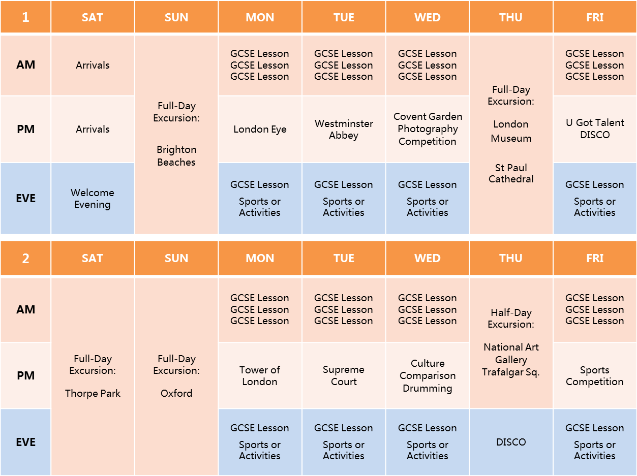 DLD College GCSE Timetable 2016