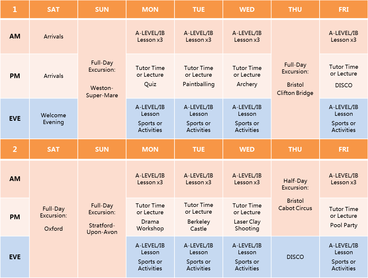 Sidcot ALevel IB Timetable 2016